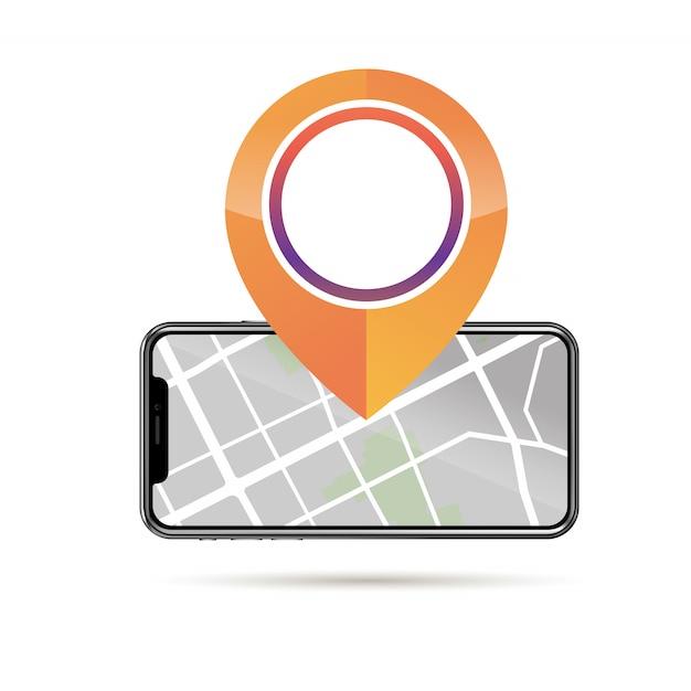 Gps pin ícone maquete e celular com mapa de rua na tela Vetor Premium