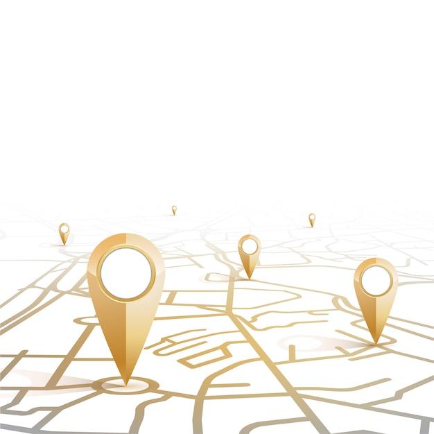 Gps pin ícone mock-up de cor de ouro mostrando a forma do mapa de rua em fundo branco e espaço em branco Vetor Premium