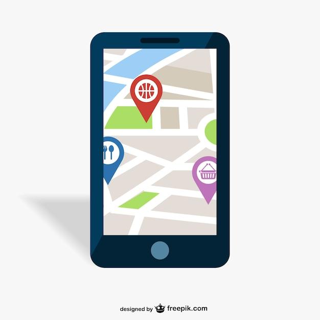 Gps projeto mobile app vetor Vetor Premium