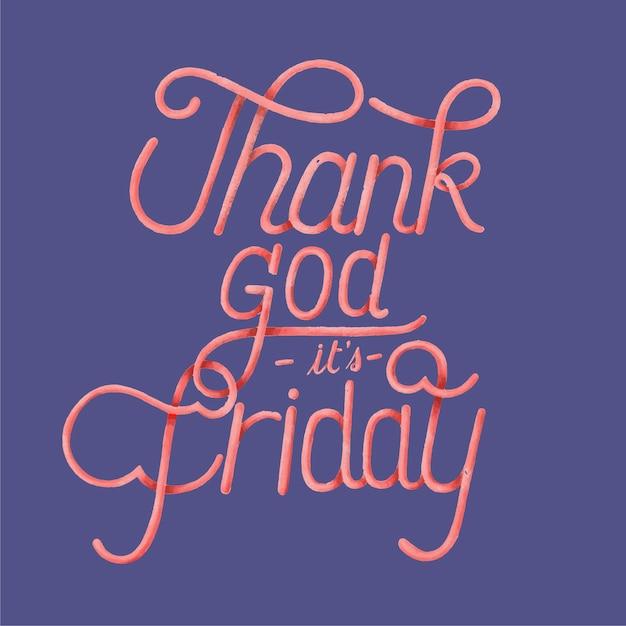 Graças a deus é design de tipografia sexta-feira Vetor grátis