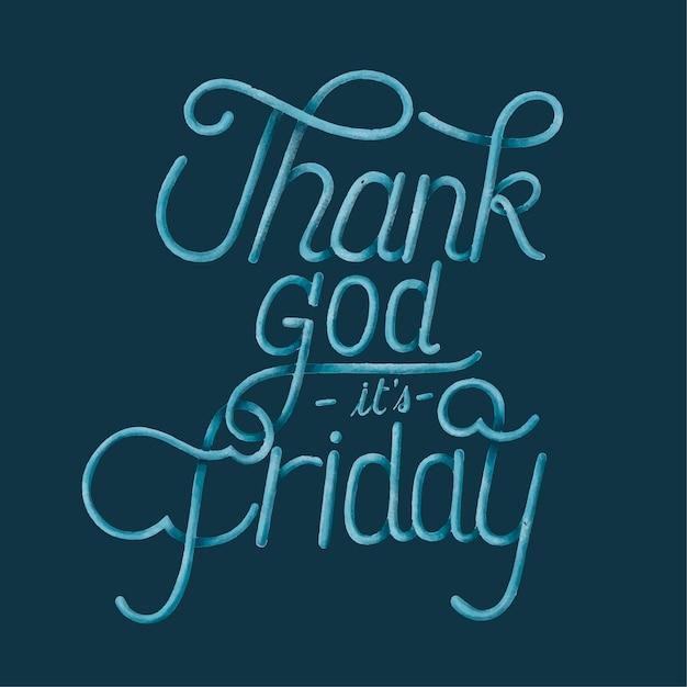 Graças a deus é sexta-feira tipografia design ilustração Vetor grátis