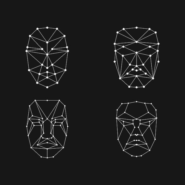 Grade de reconhecimento facial Vetor Premium
