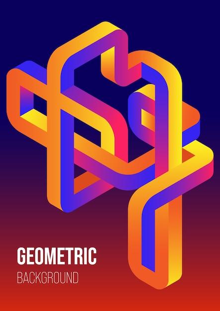 Gradiente abstrato forma geométrica isométrica modelo de design de fundo estilo arte moderna Vetor Premium