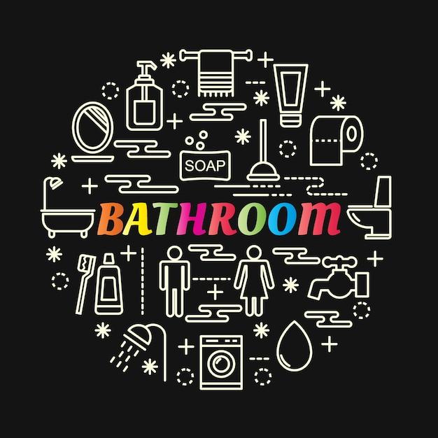 Gradiente de banheiro colorido com conjunto de ícones de linha Vetor Premium