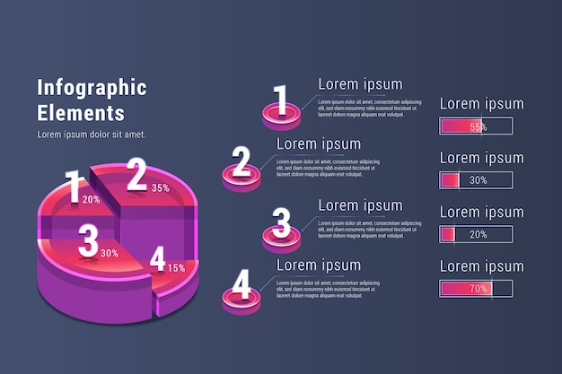 Gradiente de elementos infográfico Vetor grátis