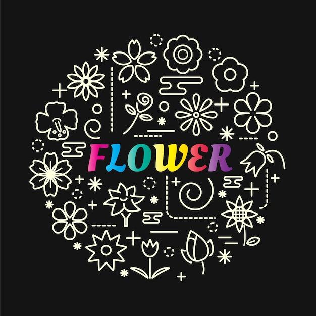 Gradiente de flor colorida com conjunto de ícones de linha Vetor Premium