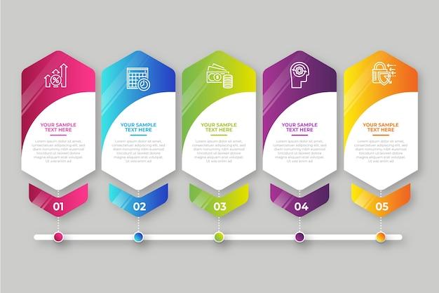 Gradiente de infográfico de etapas de negócios Vetor grátis