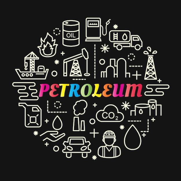 Gradiente de petróleo colorido com conjunto de ícones de linha Vetor Premium