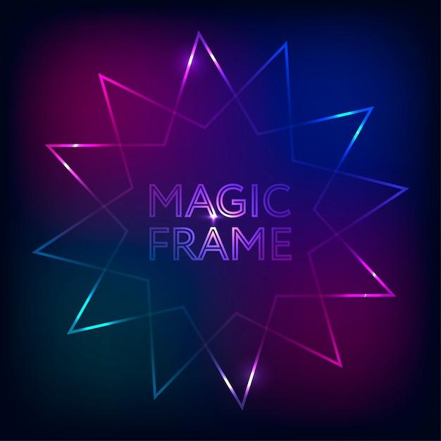 Gradiente de quadro mágico vector luzes abstratas linhas design de texto Vetor Premium