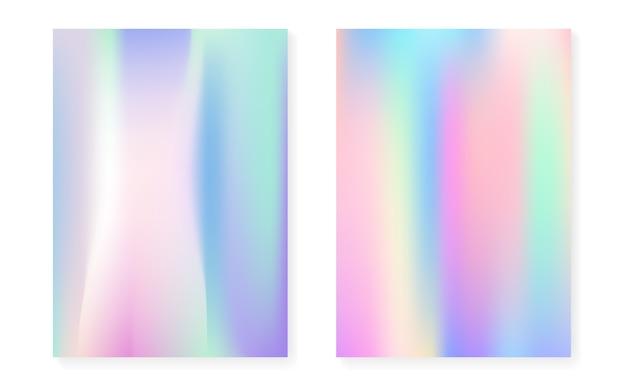 Gradiente holográfico com cobertura de holograma. Vetor Premium