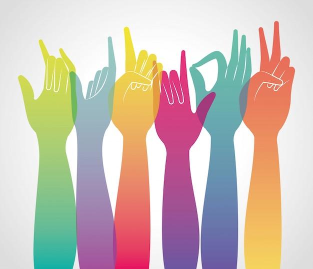Gradiente multicolorido mãos para cima da pessoa braço dedo pessoa aprender comunicação ilustração do tema da saúde Vetor Premium