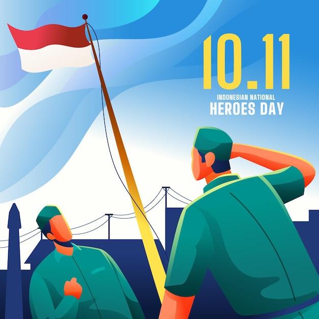 Gradiente pahlawan / dia dos heróis Vetor grátis