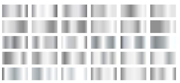 Gradientes de prata metálica Vetor Premium