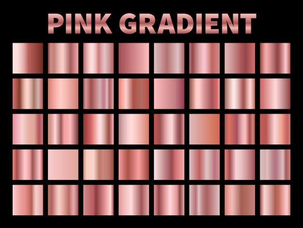 Gradientes metálicos rosa. folha de gradiente rosa dourada, rosas brilhantes placa metálica borda quadro fita etiqueta da capa. modelos Vetor Premium