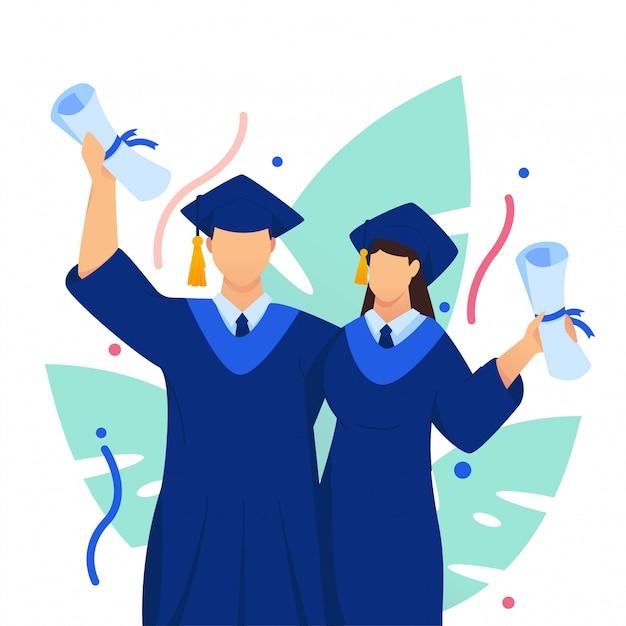 Graduação comemorar ilustração plana de casal Vetor Premium