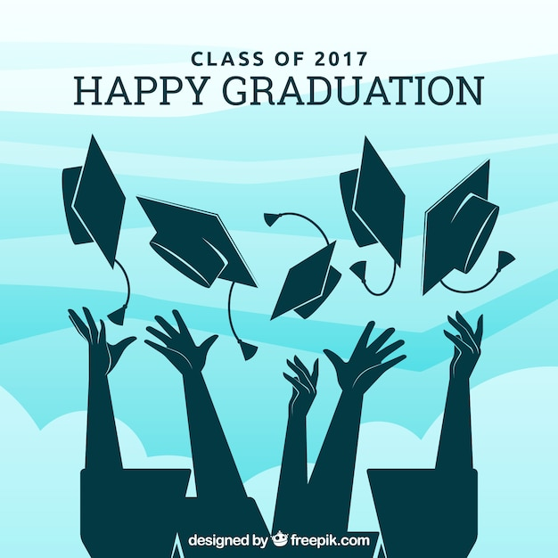 Graduação, fundo, graduado, silhuetas Vetor grátis