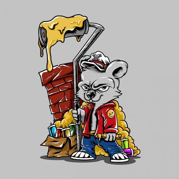Graffiti de urso de personagem de desenho animado de ilustração Vetor Premium