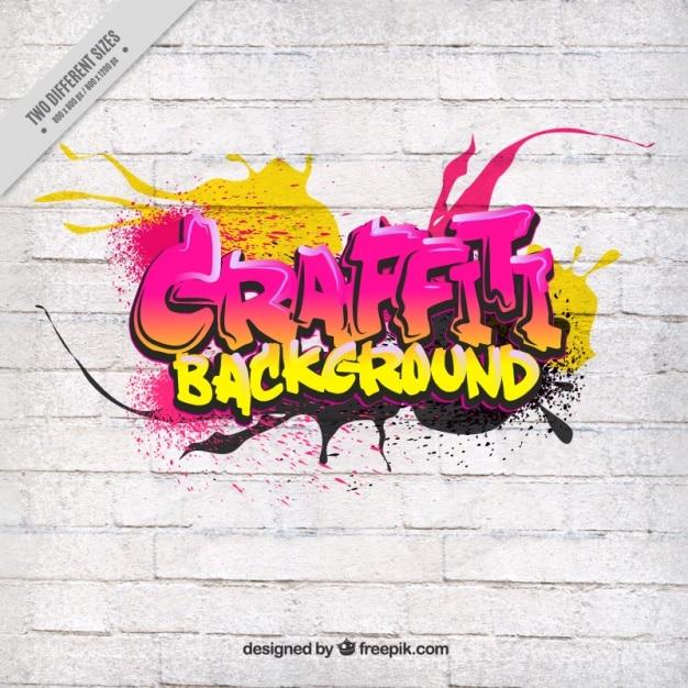 Graffiti na parede branca Vetor grátis