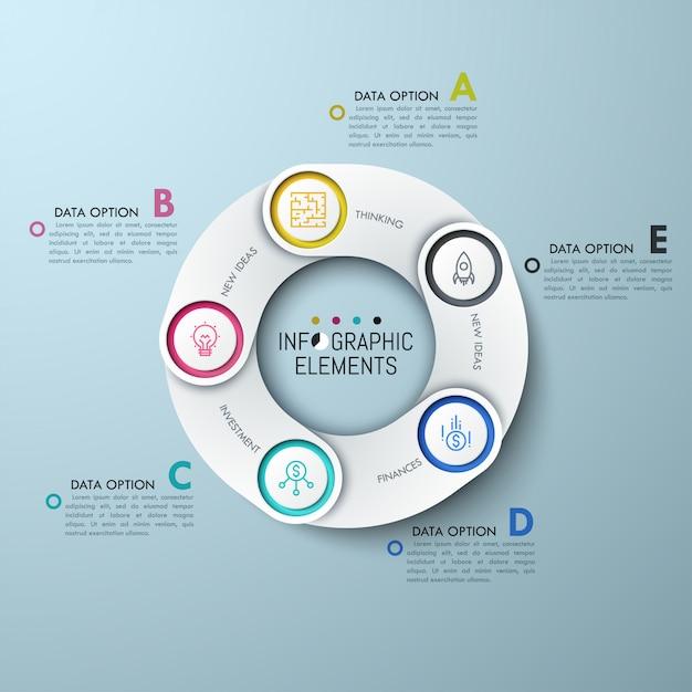 Gráfico circular com elementos sobrepostos brancos, ícones de linha fina e caixas de texto com letras. Vetor Premium