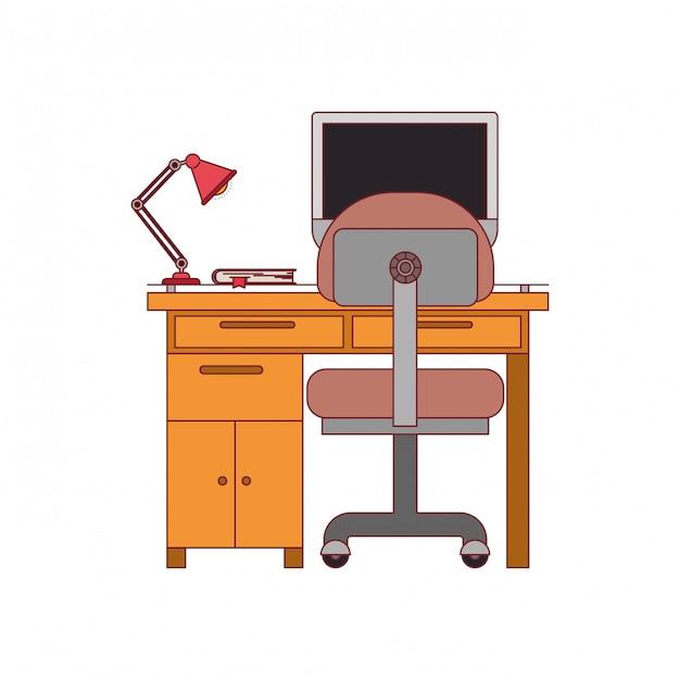 Gráfico colorido da mesa para casa com cadeira e lâmpada e computador desktop com contorno de linha vermelha escura Vetor Premium