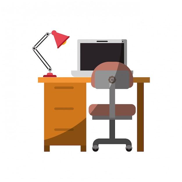 Gráfico colorido da mesa para casa com cadeira e lâmpada e computador portátil sem contorno e meia sombra Vetor Premium