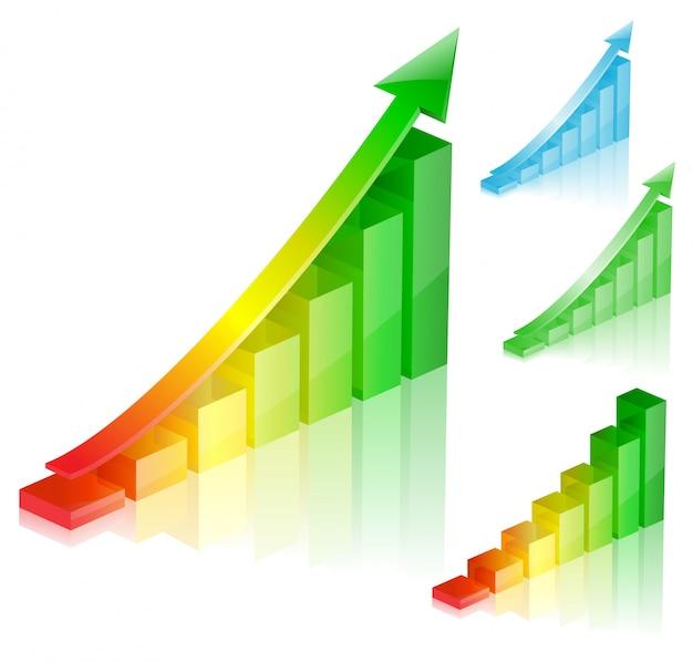 Gráfico colorido de sucesso Vetor Premium