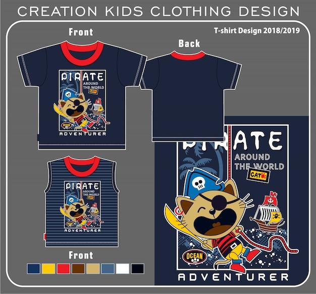 Gráfico da camisa do t do pirata do gato Vetor Premium