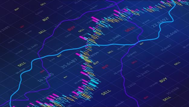 Gráfico de acompanhamento do mercado de ações da vara da vela. forex trading isometric for financial investm Vetor Premium