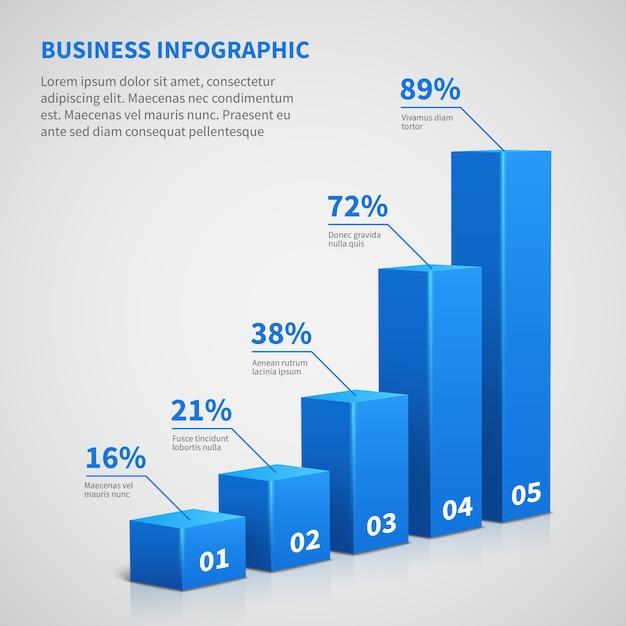 Gráfico de barras do gráfico do negócio 3d das estatísticas. Vetor Premium