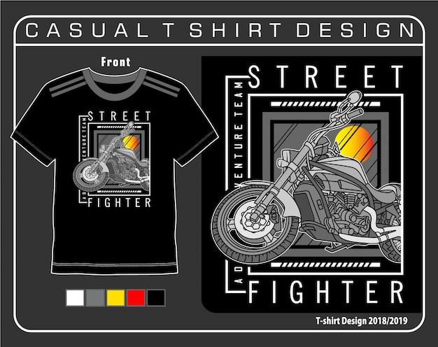 Gráfico de camisa de t de lutador de rua Vetor Premium
