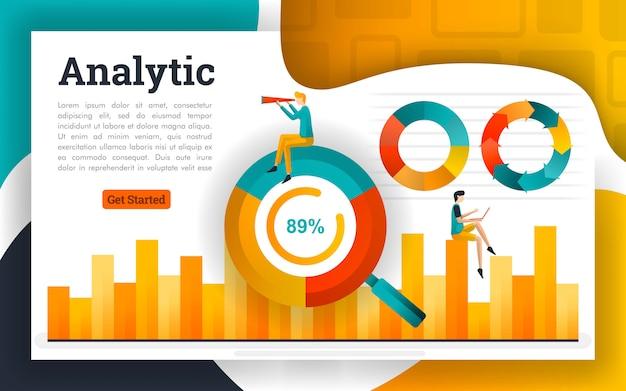Gráfico de círculo e gráfico de barras para contabilidade e negócios Vetor Premium