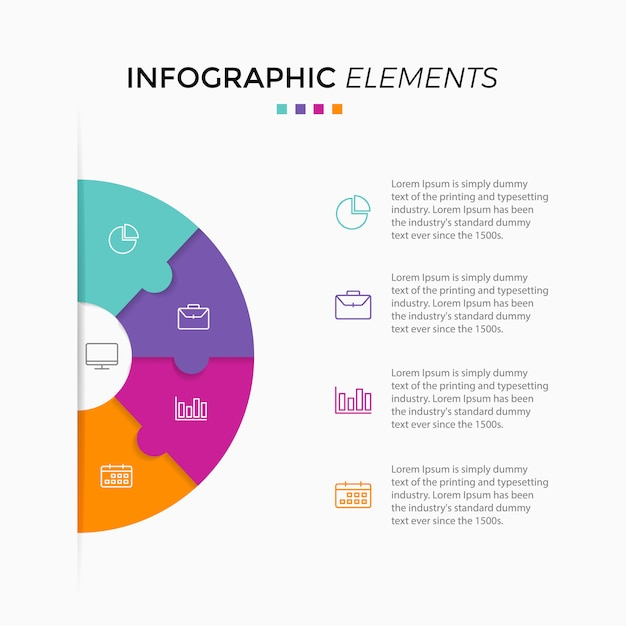 Gráfico de círculo infográfico Vetor Premium