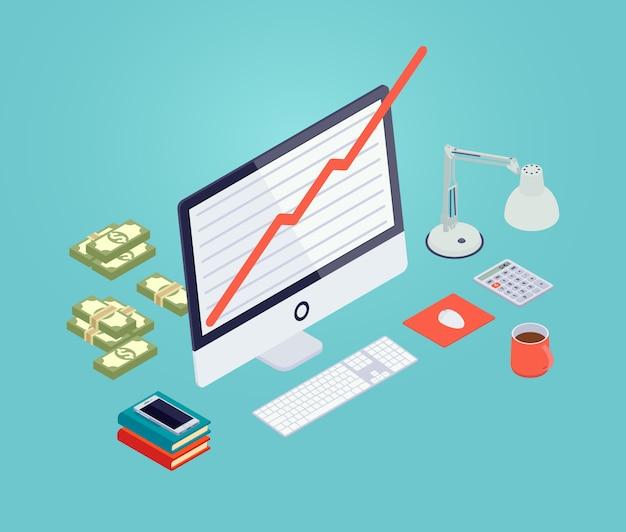 Gráfico de crescimento isométrico na tela do monitor Vetor Premium