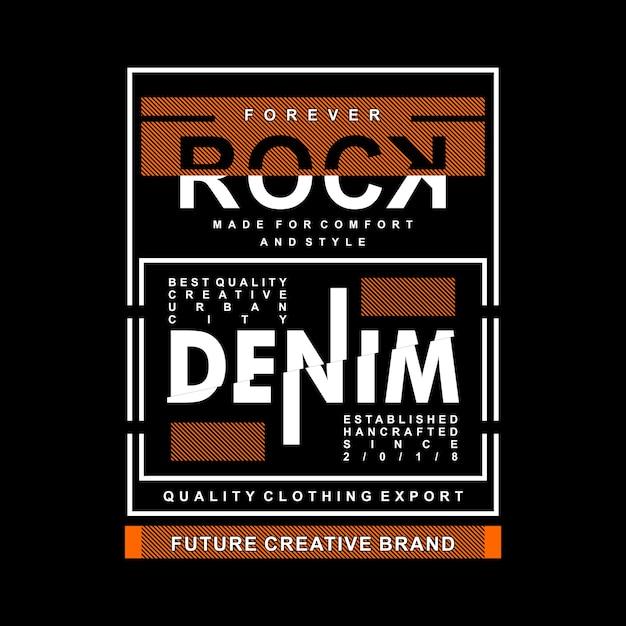 Gráfico de denim rock focada em design de camisa de t Vetor Premium