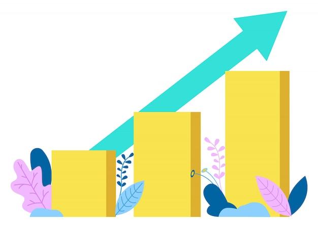 Gráfico de diagrama crescente com seta, gráficos isolados Vetor Premium