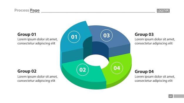 Gráfico de donuts 3d com modelo de quatro grupos Vetor grátis