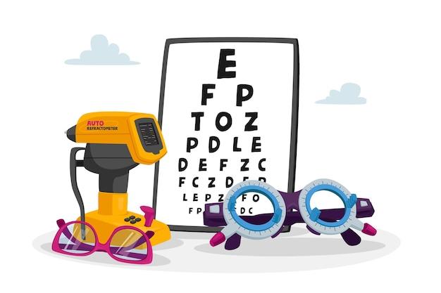 Gráfico de equipamentos oftalmológicos para ilustração de verificação de visão Vetor Premium