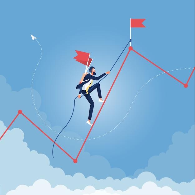 Gráfico de escalada de empresário. liderança, sucesso, crescimento, conceito de carreira empresarial Vetor Premium