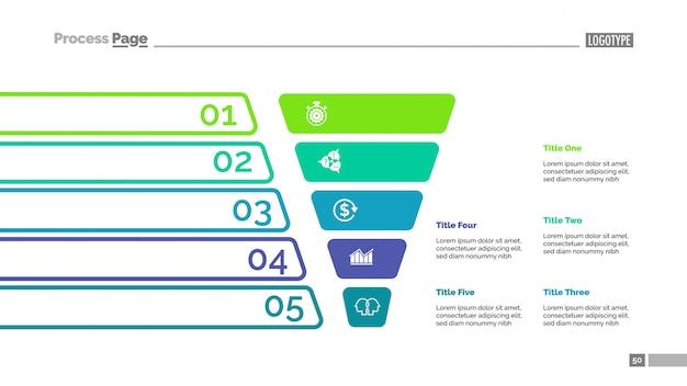 Gráfico de funil com modelo de cinco etapas Vetor Premium
