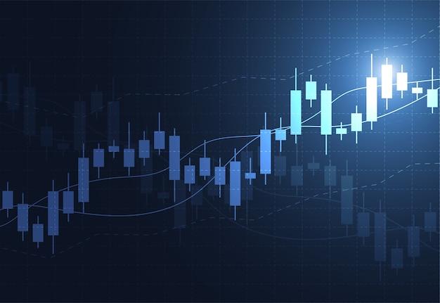 Gráfico de gráfico de vara de vela de negócios de investimento do mercado de ações Vetor Premium