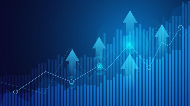 Gráfico de gráfico de vara de vela negócios de investimento em bolsa, negociação sobre fundo azul. Vetor Premium