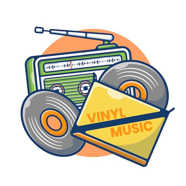 Gráfico de ilustração de cassete de vinil e rádio vintage. áudio de gravação de vinil. estilo de desenho plano Vetor Premium