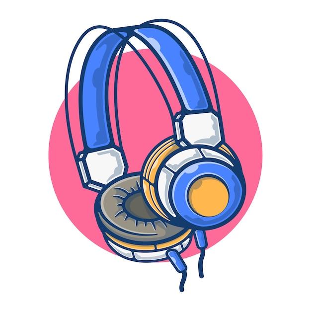 Gráfico de ilustração de fone de ouvido para ouvir música Vetor Premium