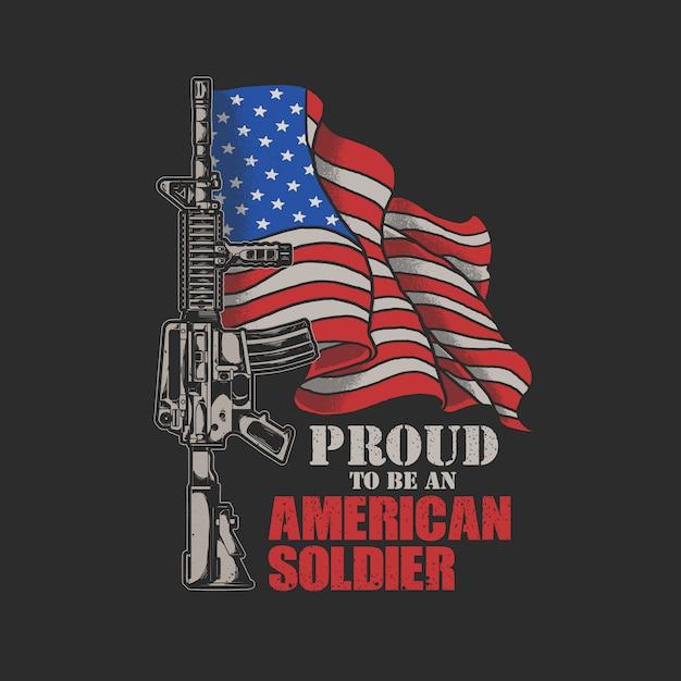 Gráfico de ilustração de soldado americano Vetor Premium