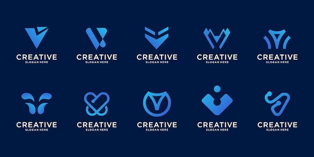 Gráfico de ilustração do logotipo abstrato no logotipo moderno de style.letter v, bom para internet, tecnologia, marca, publicidade. Vetor Premium