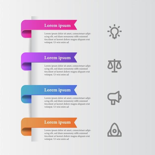 Gráfico de informação de beleza moderna elegante com ícone de negócios Vetor Premium