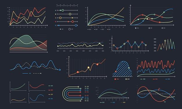 Gráfico de linha. crescimento de gráfico linear, gráficos de diagrama de negócios e gráfico isolado histograma colorido conjunto Vetor Premium