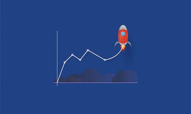 Gráfico de linhas de negócios com foguete decolando, inicialização para o sucesso, conceito do negócio Vetor Premium