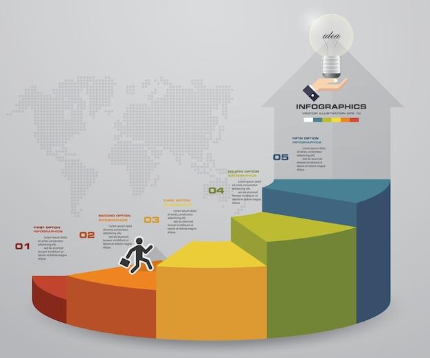 Gráfico de modelo de escada de infográficos de 5 passos. Vetor Premium
