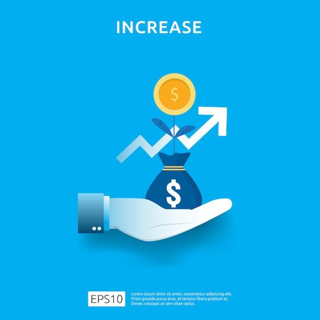 Gráfico de negócios na mão. aumento da taxa salarial de renda. receita de margem de crescimento gráfico. financiar o desempenho do conceito de roi de retorno do investimento com elemento de seta. design de estilo simples Vetor Premium